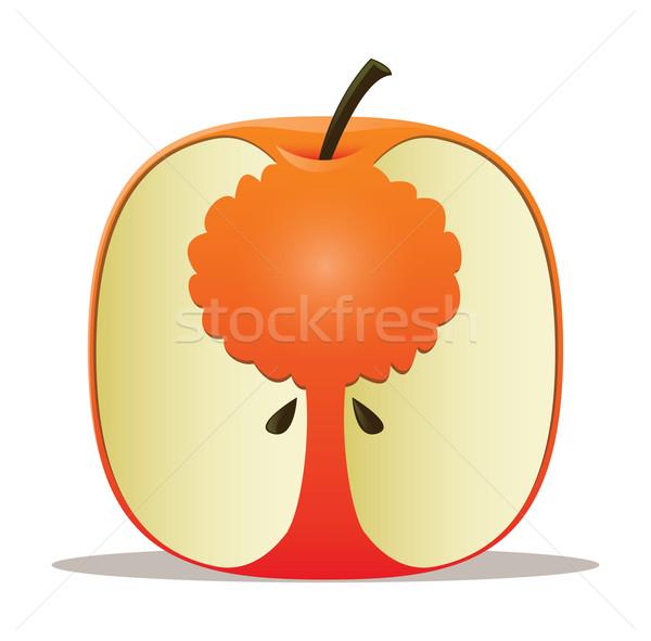 リンゴの木 ツリー シルエット リンゴ コア 自然 ストックフォト © gleighly