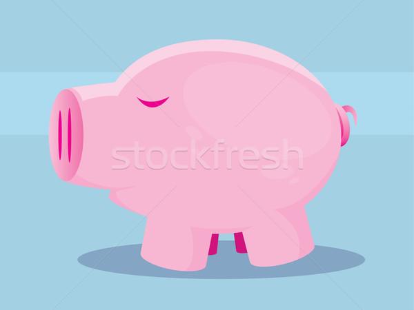 豚 実例 かわいい ピンク 青 幸せ ストックフォト © gleighly