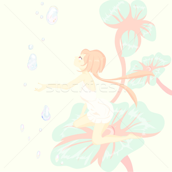 Fantasy. fairy tale, Thumbelina is sitting pretty on a flower Stock photo © Glenofobiya