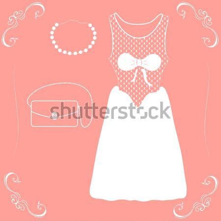 иллюстрация подвенечное платье лук розовый вечеринка моде Сток-фото © Glenofobiya
