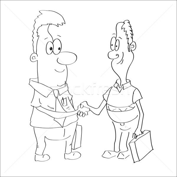 Stock fotó: Rajz · kettő · üzletemberek · kézfogás · pénz · kéz
