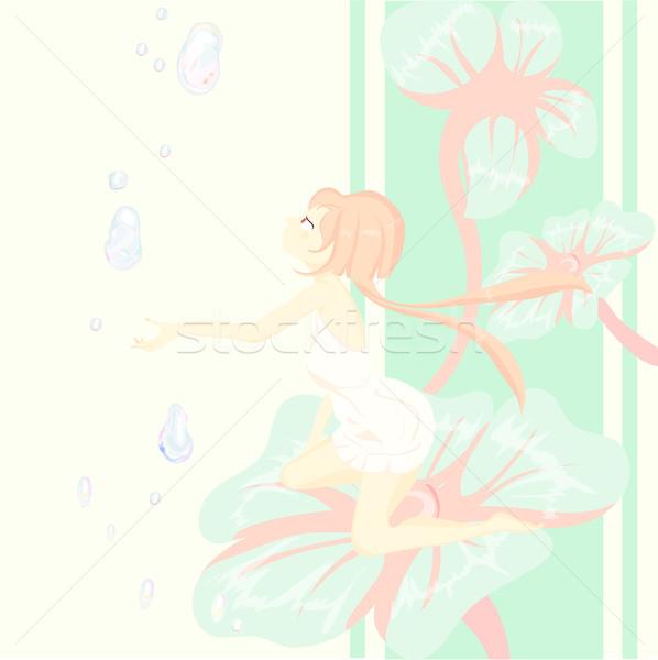 Fantázia tündérmese ül csinos virág gyönyörű lány Stock fotó © Glenofobiya