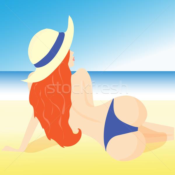 Stock fotó: Illusztráció · lány · tengerpart · rövidnadrág · kalap · nő