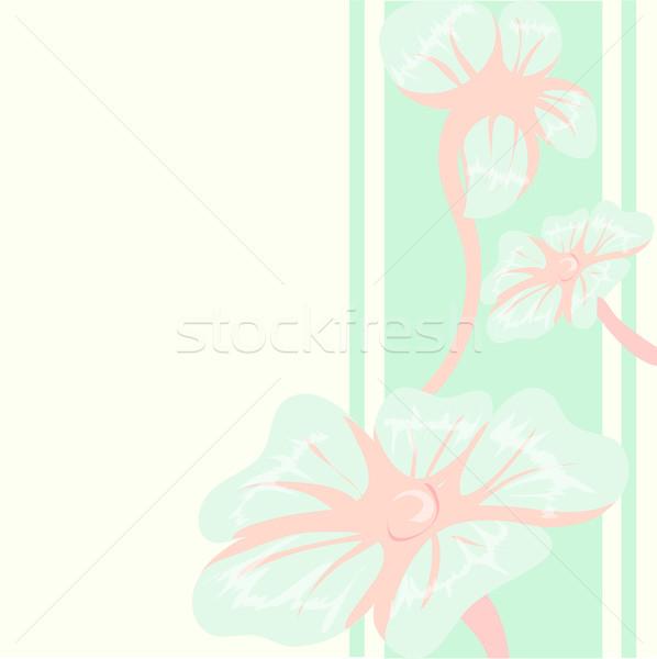 Stock fotó: Dekoratív · virágmintás · kék · virágok · rózsaszín · képeslap