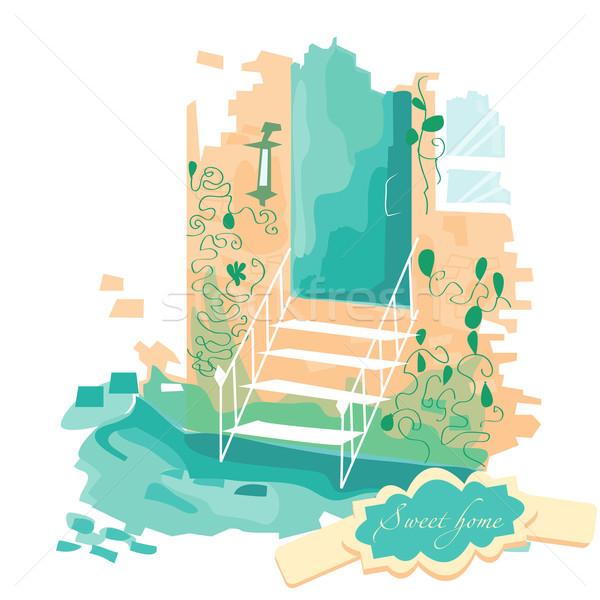 Vector illustration. Stairs leading to the door Stock photo © Glenofobiya