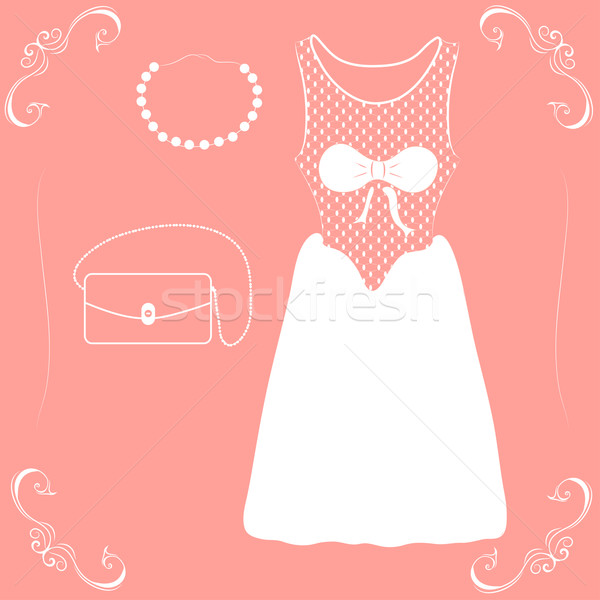Stock fotó: Illusztráció · esküvői · ruha · cipők · kézitáska · rózsaszín · buli
