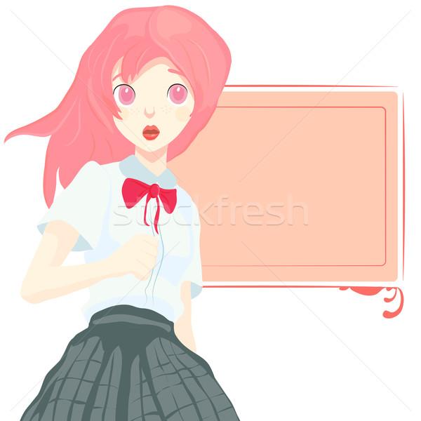 Stock iskolás lány iskola fehér szexi gyermek Stock fotó © Glenofobiya
