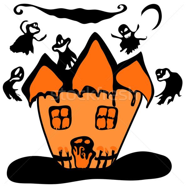 Stock fotó: Kisértetjárta · halloween · boszorkány · ház · izolált · fehér
