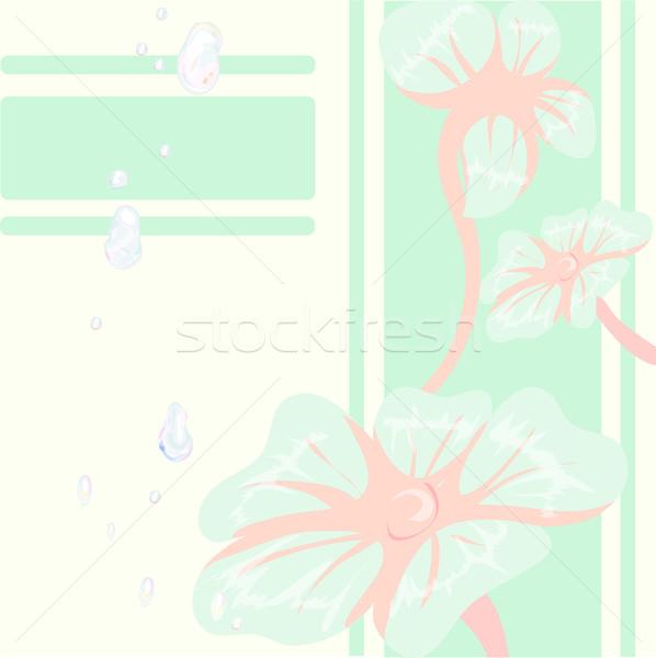 Dekoratív virágmintás kék virágok rózsaszín képeslap Stock fotó © Glenofobiya