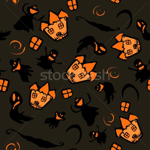 Nawiedzony halloween witch domu tekstury pomarańczowy Zdjęcia stock © Glenofobiya