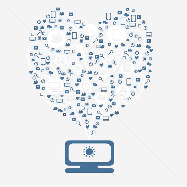 Stock fotó: Számítógép · felhő · ikon · szív · programozás · illusztráció · vektor