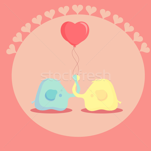 cute elephant in love. vector illustration Stock photo © Glenofobiya