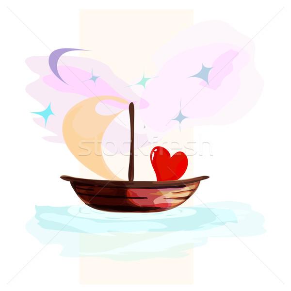 Stock fotó: Kártya · szívek · lebeg · csónak · szív · tenger