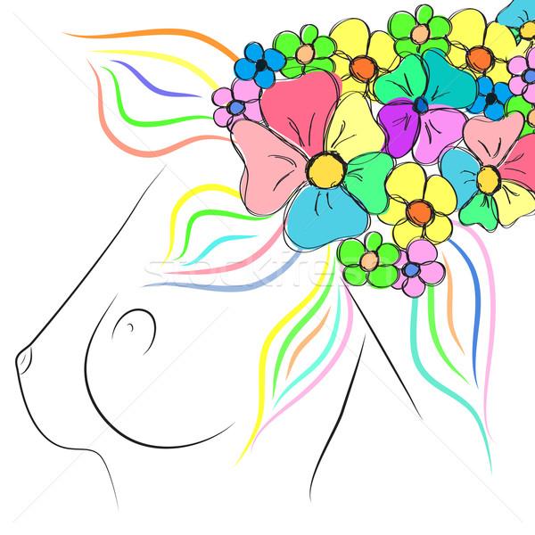 Güzel kadın meme çiçekler kadın çıplak Stok fotoğraf © Glenofobiya