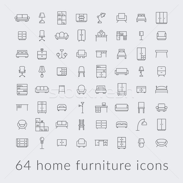big collection of home furniture icons Stock photo © glorcza