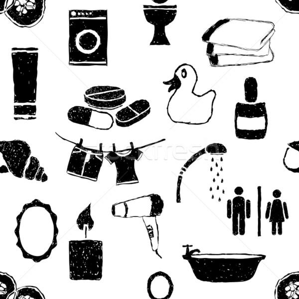 doodle bathroom seamless pattern Stock photo © glorcza