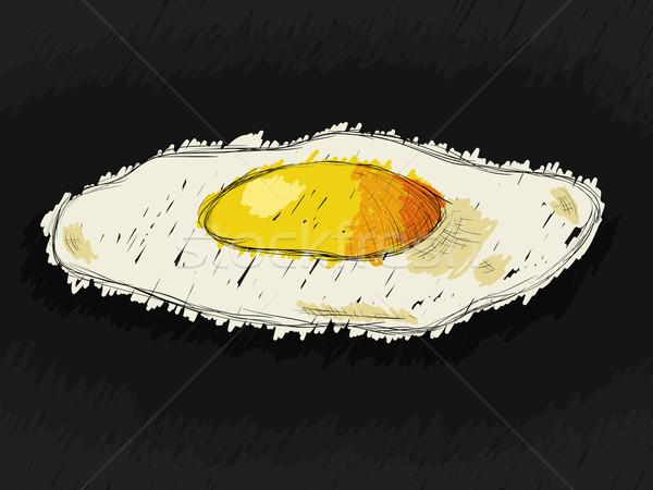 Tükörtojás fekete étel kéz terv tojás Stock fotó © glorcza