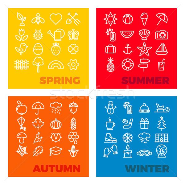 season icons - spring, summer, autumn, winter Stock photo © glorcza