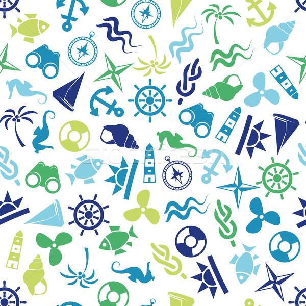 seamless marine pattern Stock photo © glorcza