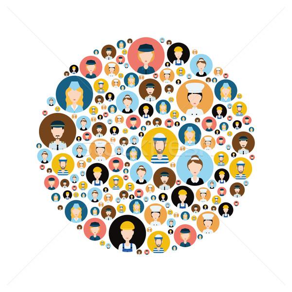 Personas cabeza iconos círculo signo policía Foto stock © glorcza