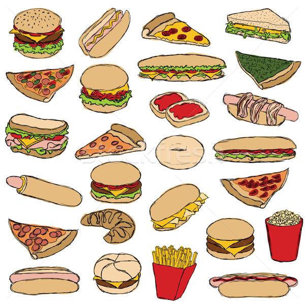 Fast-food grande rabisco conjunto mão queijo Foto stock © glorcza