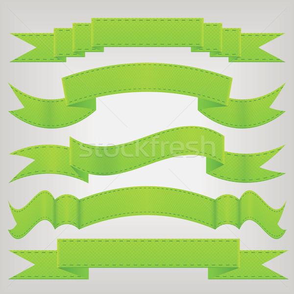 Stock photo: set of green ribbons