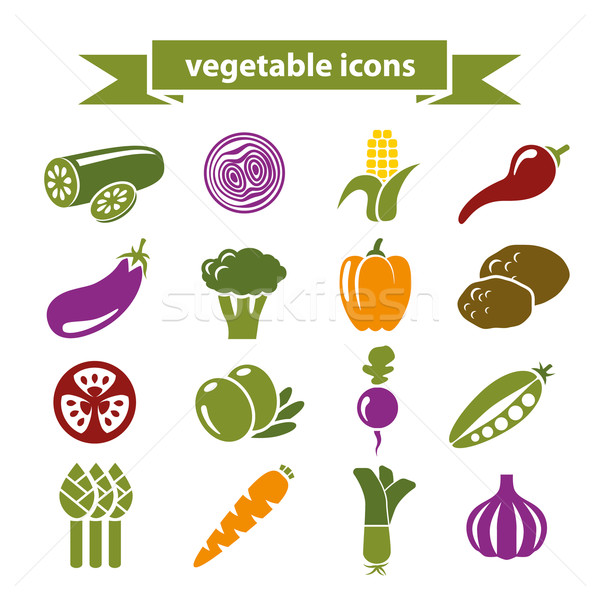 Zöldség ikonok kert farm paradicsom információ Stock fotó © glorcza