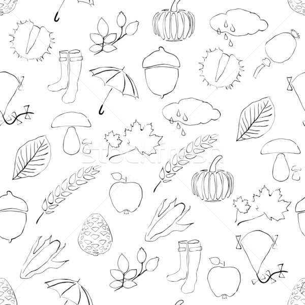 doodle seamless pattern with autumn pictures Stock photo © glorcza