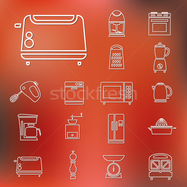 kitchen appliances and tools outline icons Stock photo © glorcza