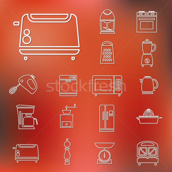 Utensílios de cozinha ferramentas ícones projeto cozinha Foto stock © glorcza