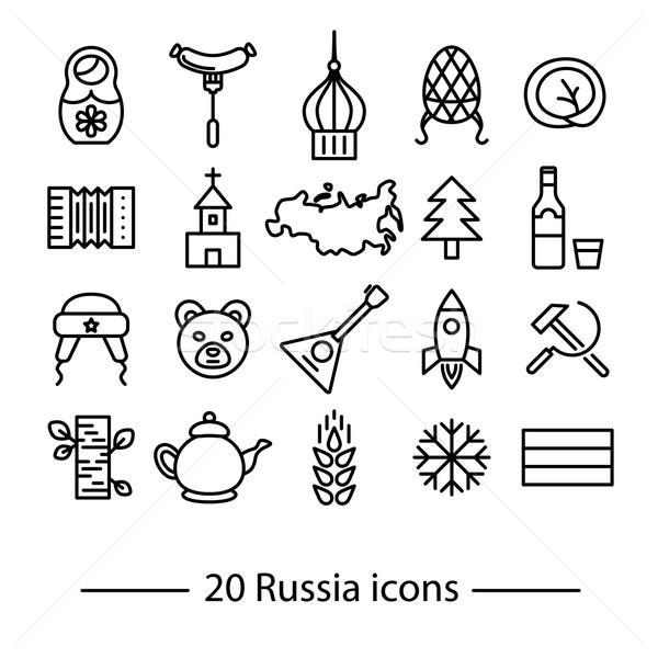 Rusia línea iconos veinte forestales mapa Foto stock © glorcza