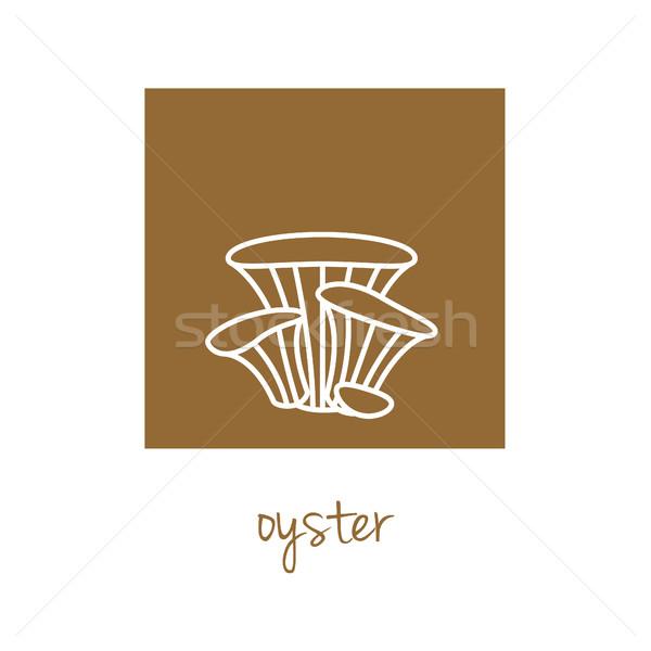 oyster icon on brown square Stock photo © glorcza