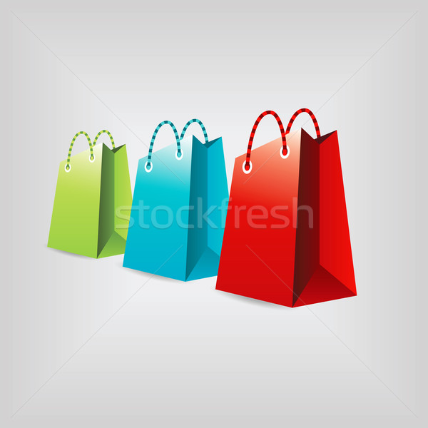 Bevásárlótáskák gyűjtemény üzlet doboz kék piros Stock fotó © glorcza