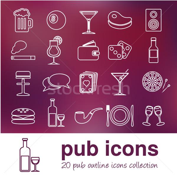 Kocsma skicc ikonok sör felirat klub Stock fotó © glorcza