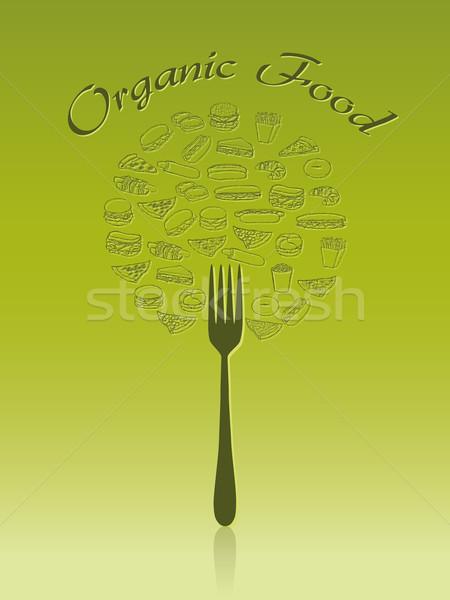 Alimentos orgánicos verde mano naturaleza signo web Foto stock © glorcza