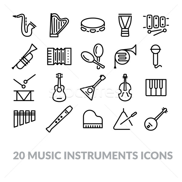 collection of music instruments icons Stock photo © glorcza