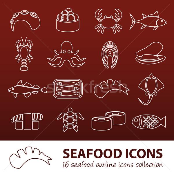 seafood outline icons Stock photo © glorcza