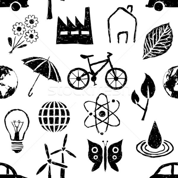 doodle environment seamless pattern Stock photo © glorcza