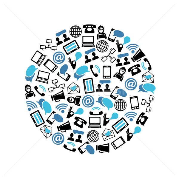 Stock photo: communication icons in circle
