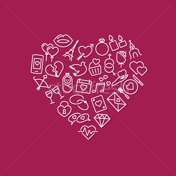 love line icons in heart Stock photo © glorcza