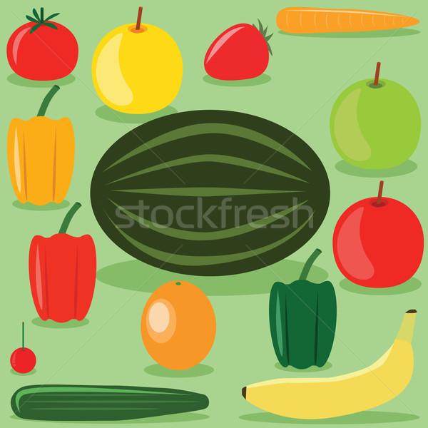 Gyümölcsök zöldségek szett étel gyümölcs narancs Stock fotó © glorcza