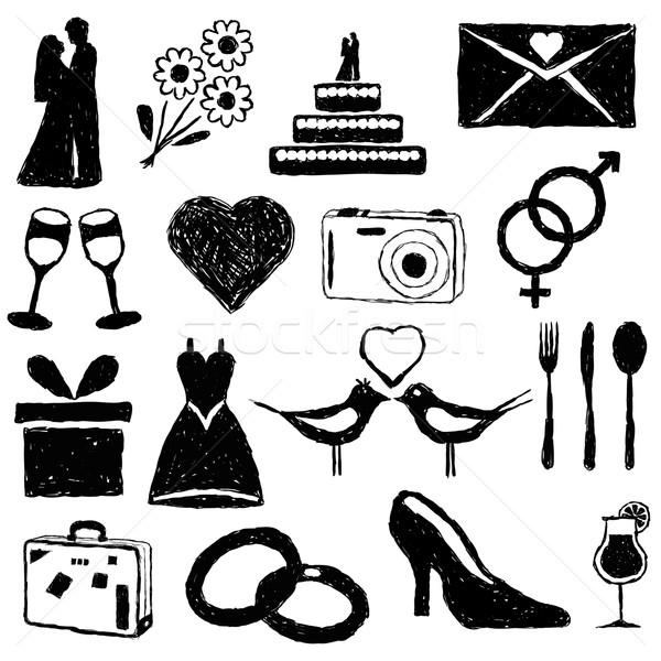 Esküvő firka képek férfi szív terv Stock fotó © glorcza