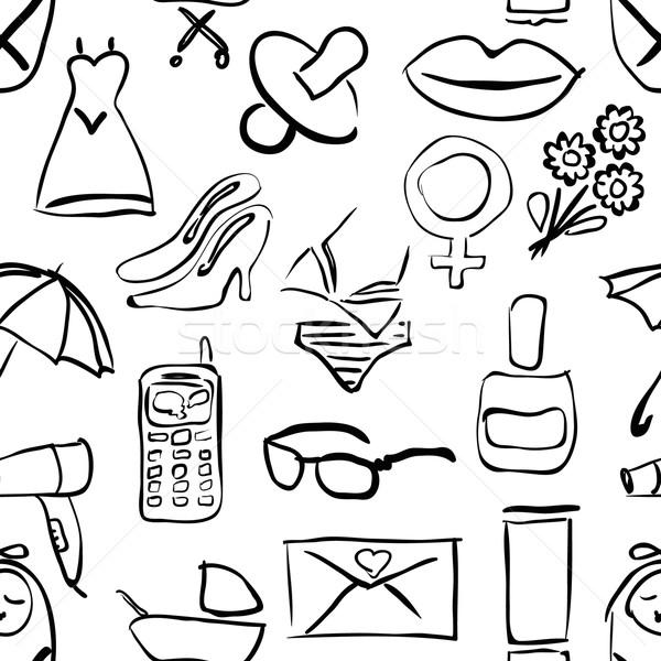 Naadloos doodle patroon vrouwen textuur liefde Stockfoto © glorcza