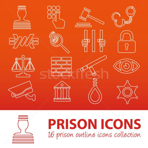 prison outline icons Stock photo © glorcza