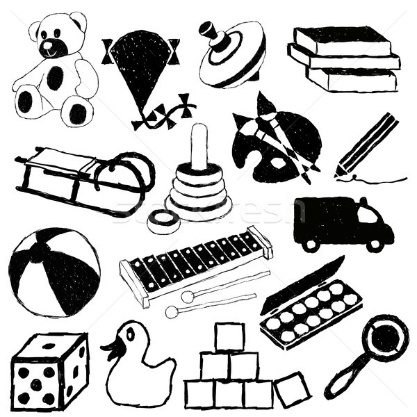Foto stock: Garabato · juguetes · coche · nino · diseno · lápiz