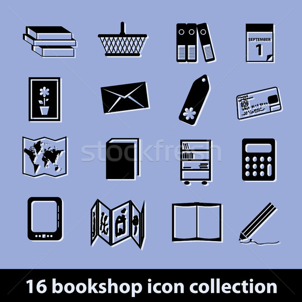 Boekenwinkel iconen 16 icon collectie pen Stockfoto © glorcza