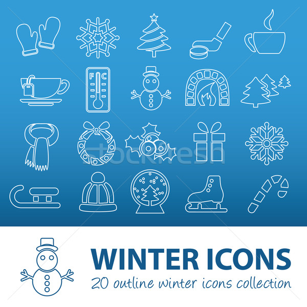 winter outline icons Stock photo © glorcza