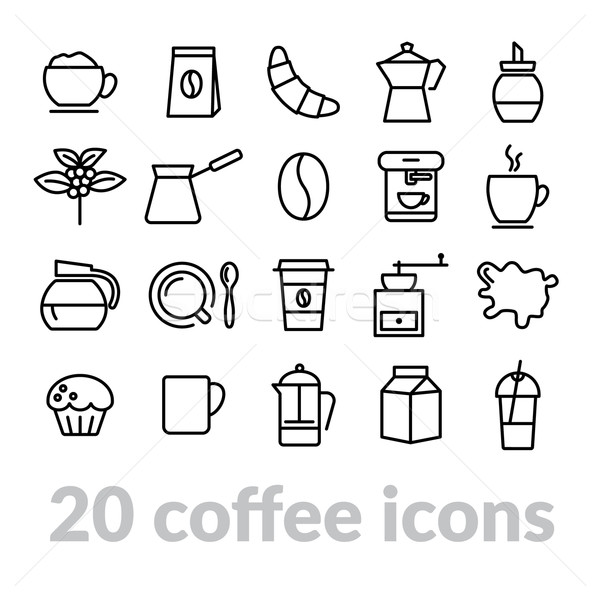 collection of coffee line icons Stock photo © glorcza