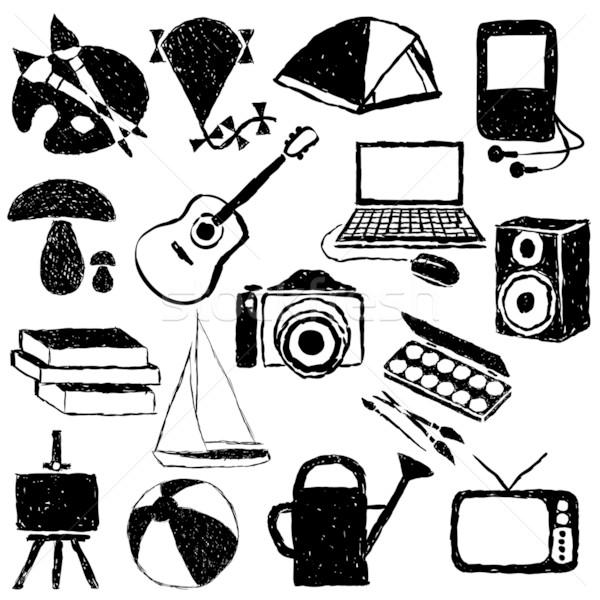 Doodle hobby ontwerp laptop kunst Stockfoto © glorcza