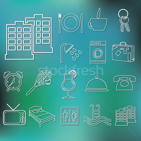 outline hotel and accommodation icons Stock photo © glorcza